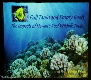 Operation Reef Defense Earth Day Launch included a presentation on reef wildlife trafficking for the aquarium trade at Deep Ecology Dive Center in Haleiwa, Oahu. Photo: Deb Bassett / Sea Shepherd