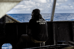 Alistair Allan, the bosun on the Bob Barker, on the ship's deck. The Bob Barker never left the trail of the poacher during the chase. Credit Selase Kove-Seyram for The New York Times