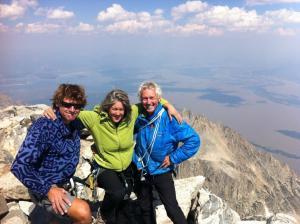 John Davis, Cindy Tolle, and Ed George atop Grand Teton