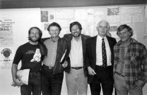 Unknown student, Bill Hotchkiss, Richard Alman, David Brower, George Sessions, photo credit: Sierra College Archives
