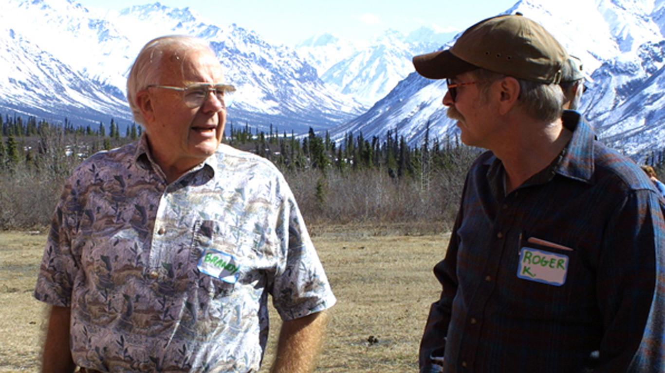 Brandy and wilderness expert Roger Kaye at a Wilderness Watch Wilderness Forum in Alaska, May 2004.  (c) George Nickas
