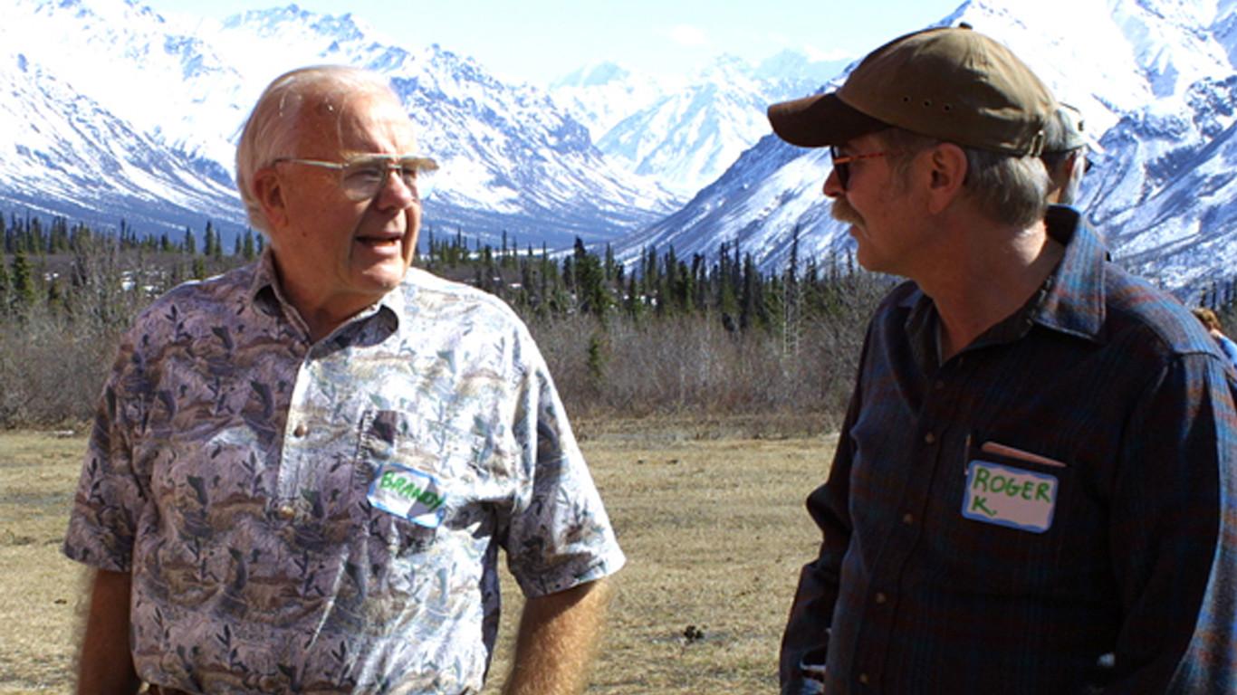 Brandy and wilderness expert Roger Kaye at a Wilderness Watch Wilderness Forum in Alaska, May 2004. (c) George Nickas