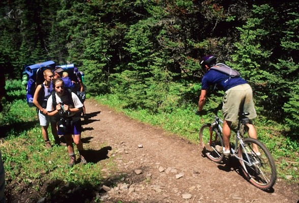 Mountain biker confronts backpackers on Emerald Creek Trail, Gallatin Range, Gallatin NF, Montana