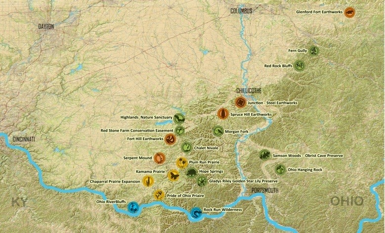 Map of Arc of Appalachia Preserves (c) Arc