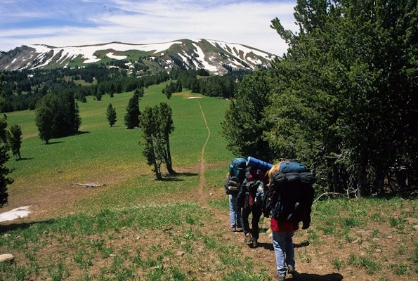 Backpackers on crest of Gallatin Range, Gallatin National Forest, Montana © George Wuerthner