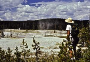 Nancy viewing Yellowstone geysers © Dave Foreman