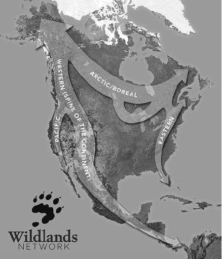 FIGURE 0.1 Wildlands Network North American Wildways. The wildways are planning regions, composed of strictly protected core areas, protected corridors or linkage zones, and buffer or multiple use zones, designated to ensure all native species, ecosystems, and disturbance regimes can thrive in perpetuity. Not shown is the Gulf Wildway, which runs from Florida to the Sierra Madre Oriental, and includes important systems such as Longleaf Pine Forests of the US South. � 2018 Wild Earth Society. All Rights Reserved. Used with Permission.