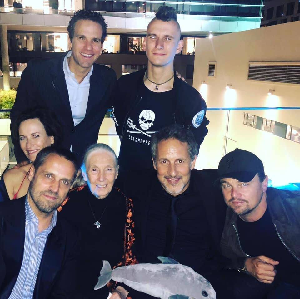 Photo: Sea Shepherd crewmember Jack Hutton, Executive Producer Leonardo Dicaprio, Director Richard Ladkani, Dr. Jane Goodall, Andrea Crosta, and Mexican Journalist and TV Host Carlos Loret De Mola © SS