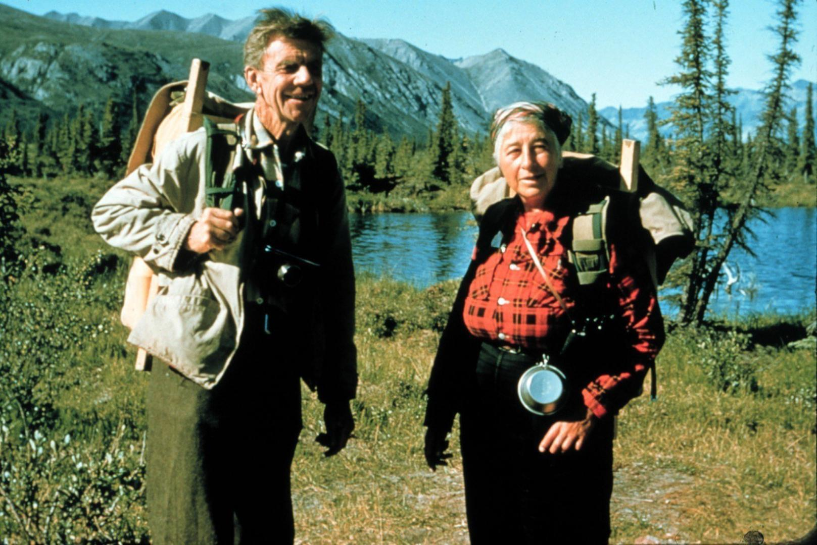 """Olaue and Mardy Murie on the Arctic Refuge, 1956. Olaus described wilderness as """"nature's freedom."""" Mardy declared that """"it is itself, for itself."""" Photo courtesy of Roger Kaye"""