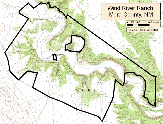 A topographical map of the Rio Mora National Wildlife Refuge taken from the Loma Parda quadrangle (thanks to Quivira Coalition).