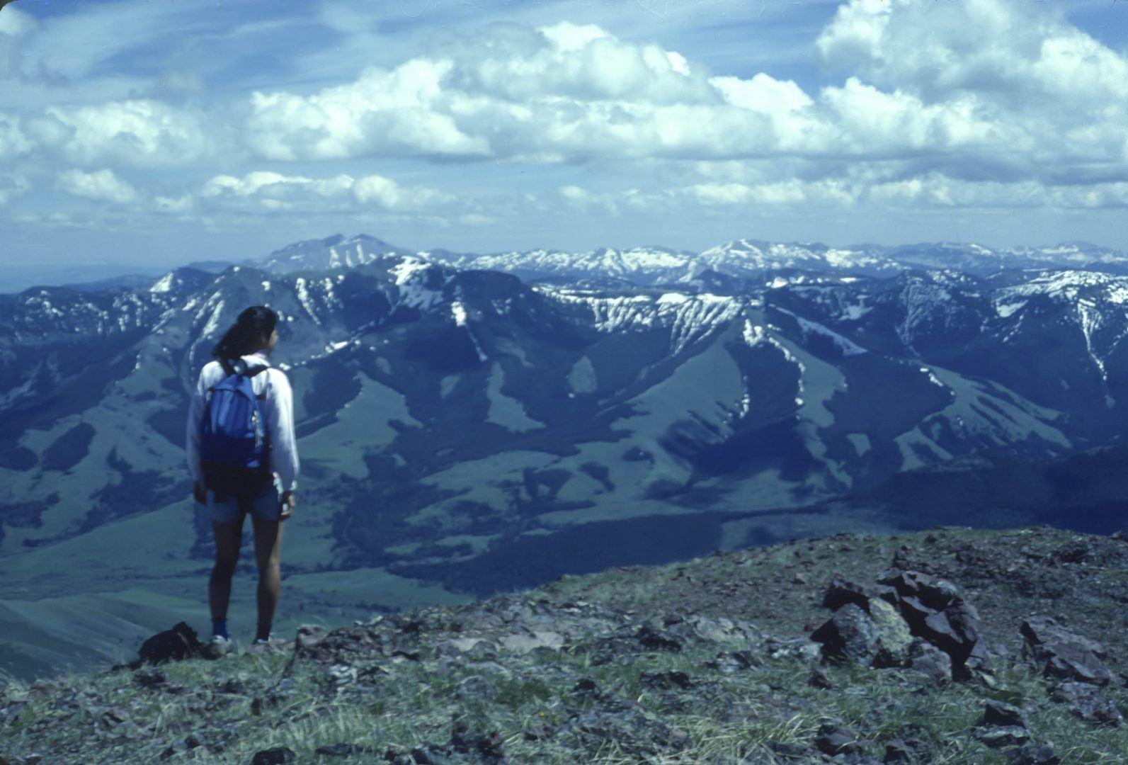 Mollie Matteson on Ramshorn Peak above Tom Miner Basin, Gallatin Range, Gallatin National Forest, Montana © George Wuerthner
