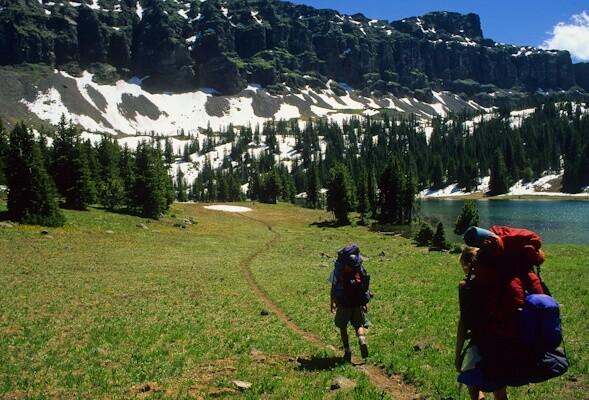 Backpackers at Emerald Lake, Gallatin Range, Montana © George Wuerthner