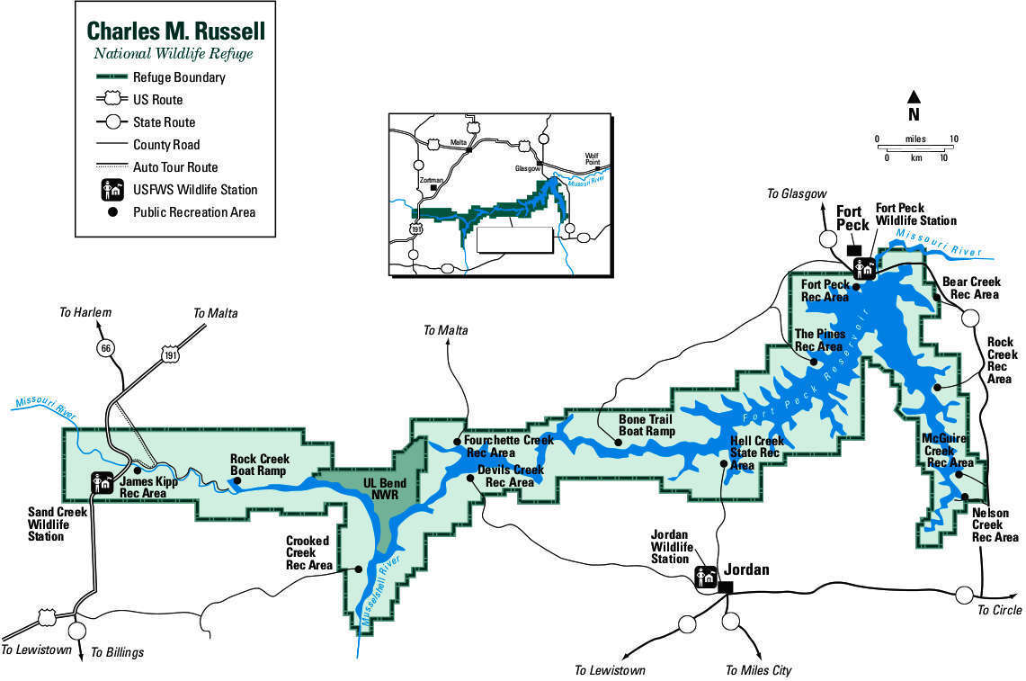 Charles M. Russell National Wildlife Refuge map © CMRNW