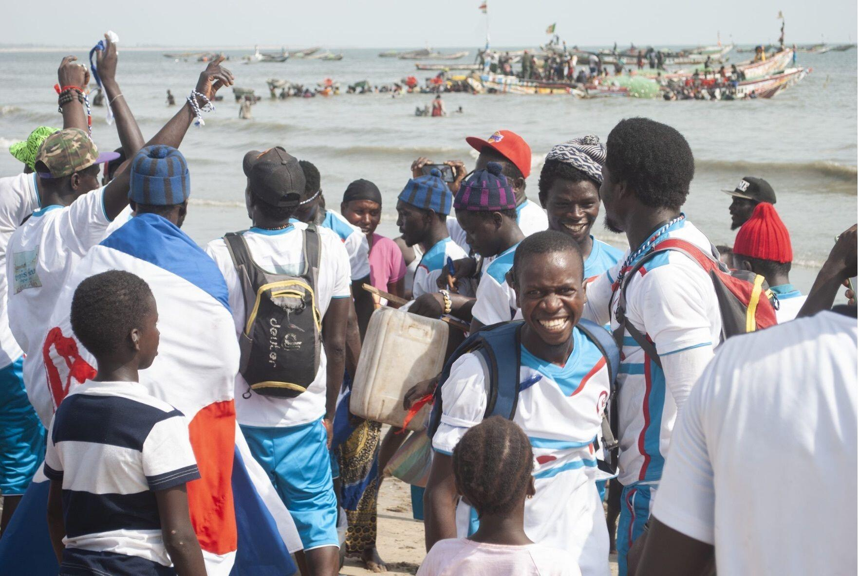 Celebration on shore Gambia