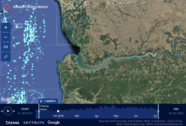 Interactive map Gambia illegal fishing
