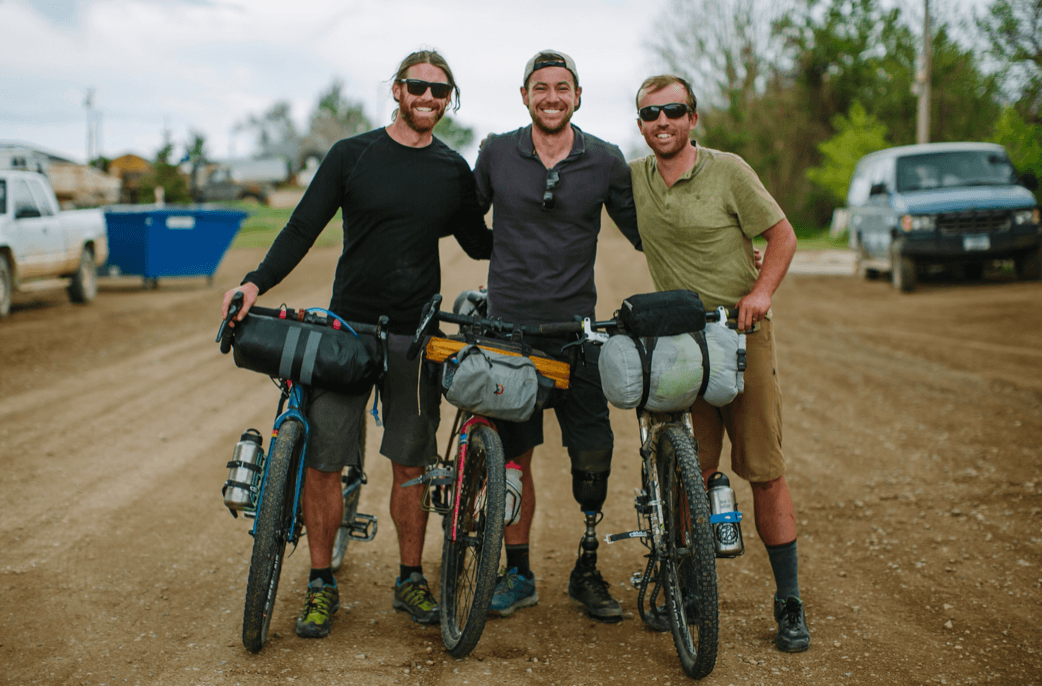 Jacques Boiteau, Joel Caldwell and Peter Hall (L to R): Filthy clothes noticeably baggier after seven days of hard riding, the boys are happy to have completed their circumnavigation of the American Prairie Reserve © Joel Caldwell