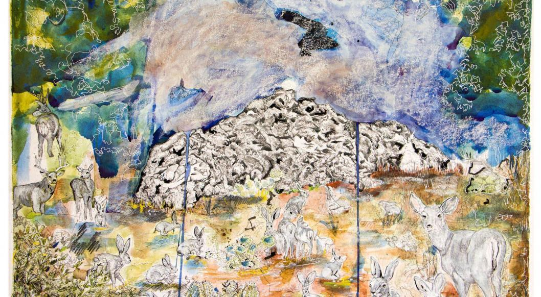 laura c carlson, Canid Collapse, graphite, watercolor, and mulberry ink, 2020