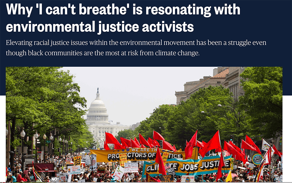 "NBC Headline: Why ""I can't breathe"" is resonating with environmental justice activists"