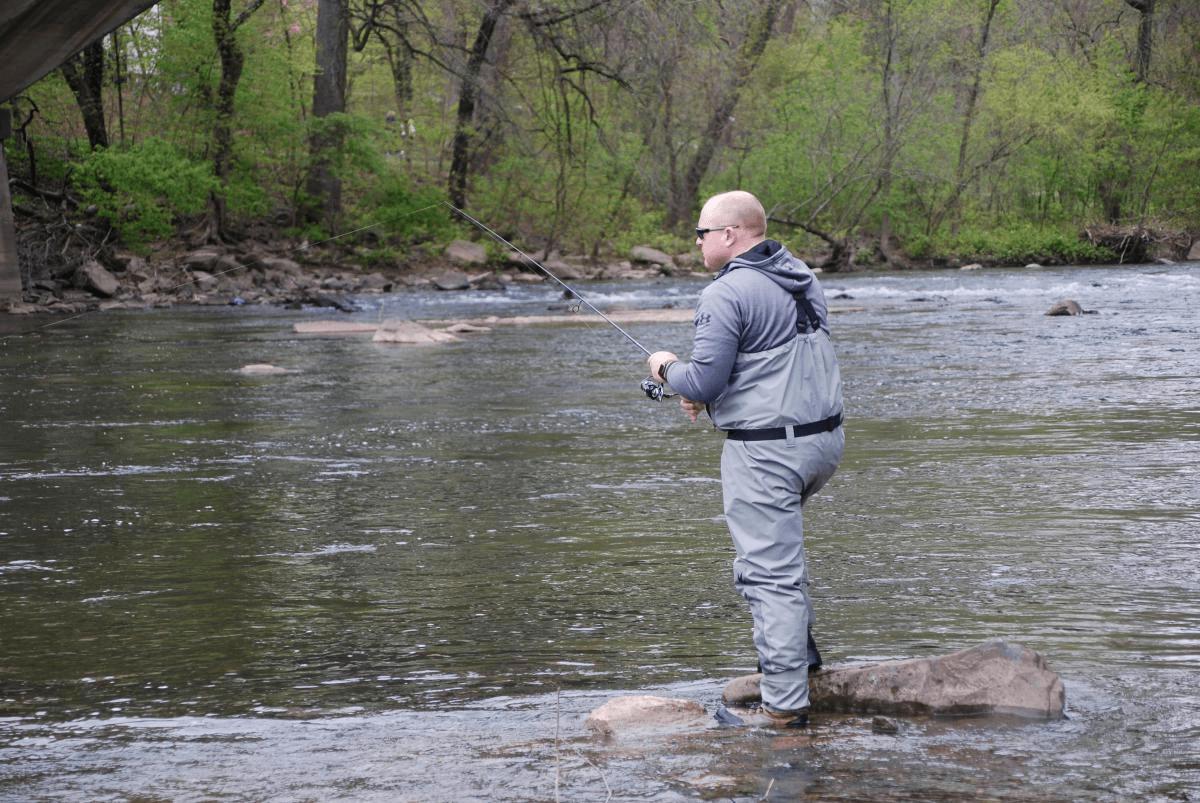 Angler fishing for shad on Brandywine Creek April of 2020