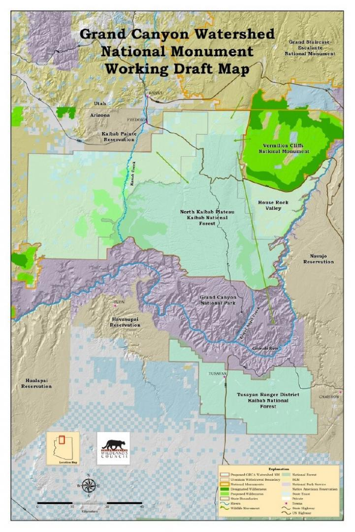 Grand Canyon Watershed National Monument Working Draft Map (Source: Grand Canyon Wildlands Council, now Wild Arizona)