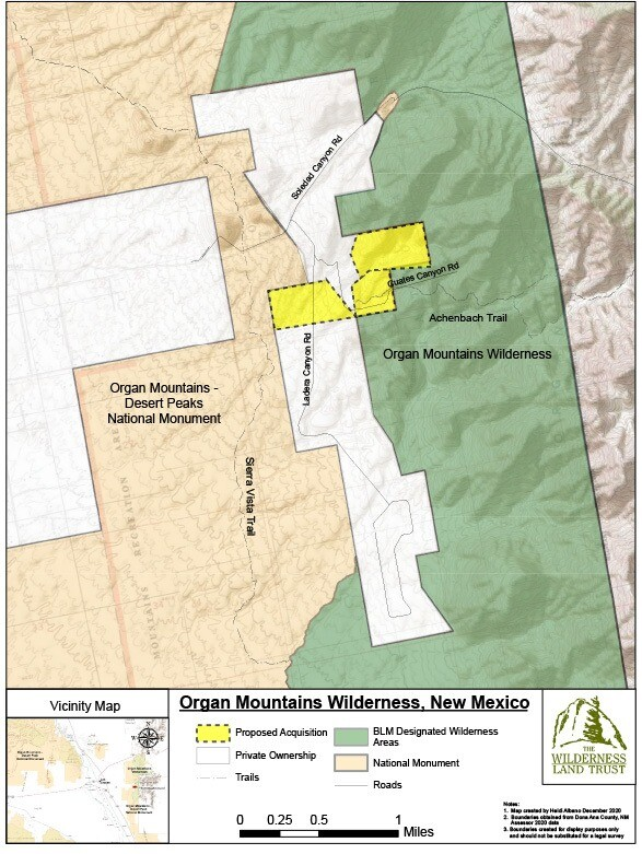 Organ Mountains Wilderness, New Mexico Map