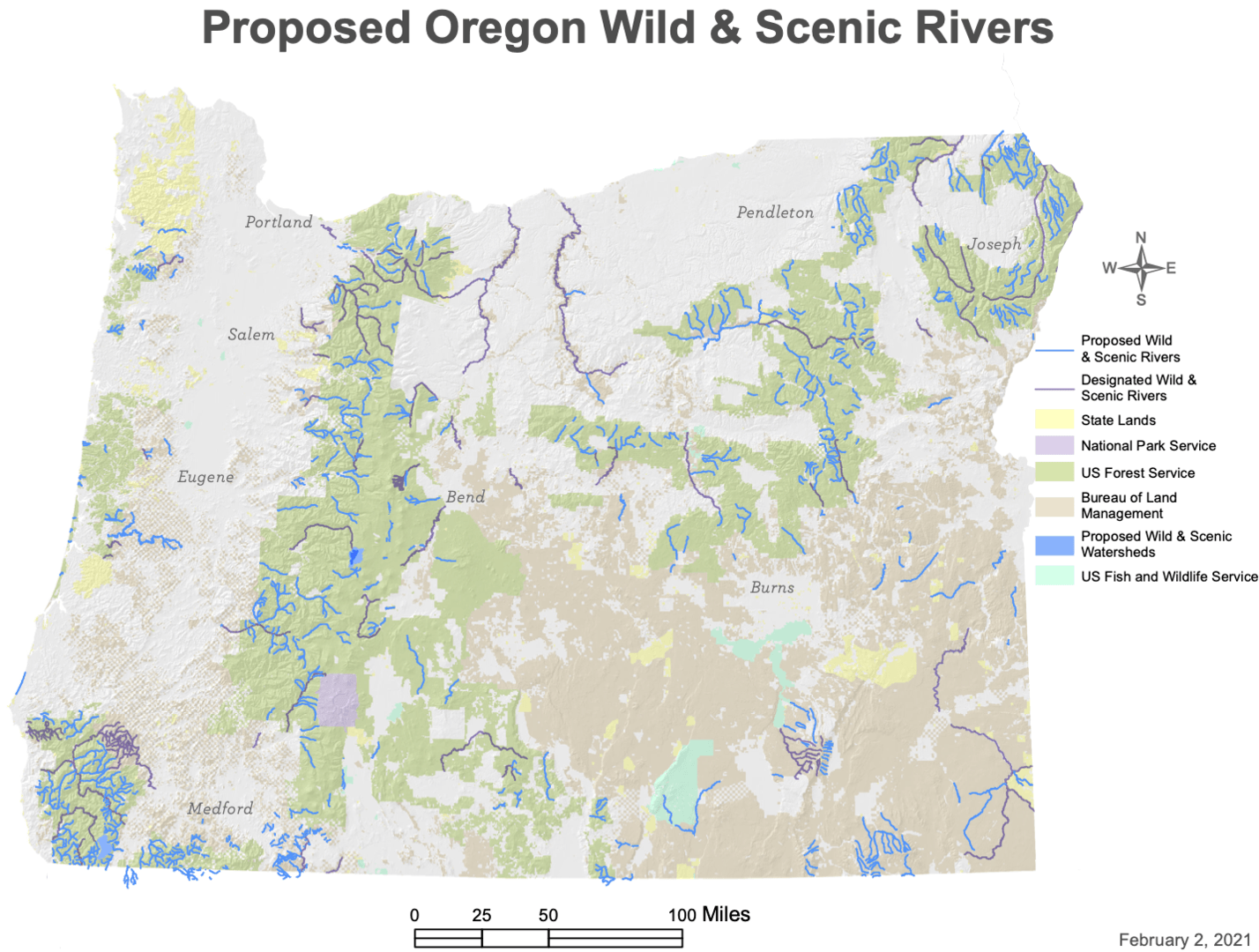 Existing and River Democracy Act-proposed wild and scenic rivers (click here for larger version). Source: Senator Wyden's Office.
