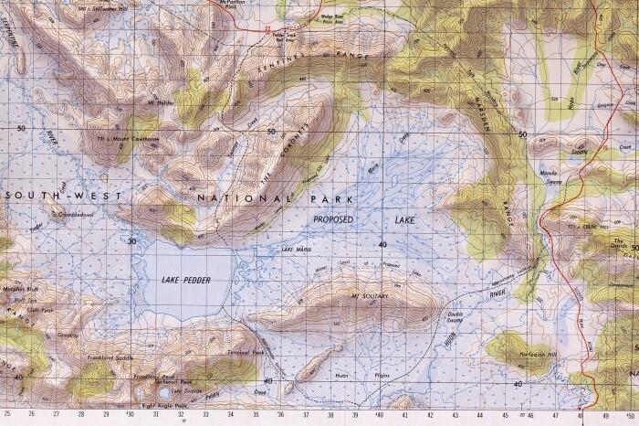 Peter Fagan'Wedge Map' Pedder impoundment alterations 1971