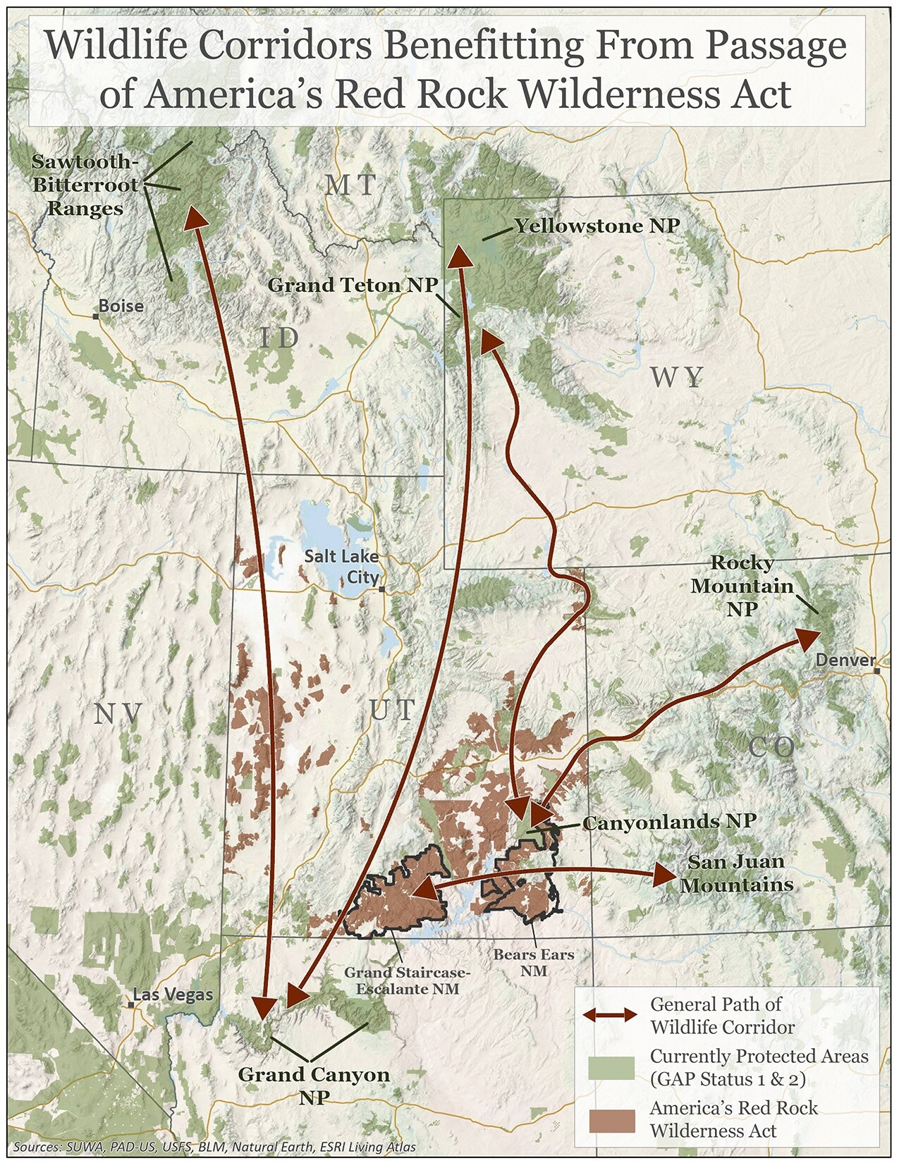 Wildlife Corridors Benefiting from Passage of America's Red Rock Wilderness Act (Map)