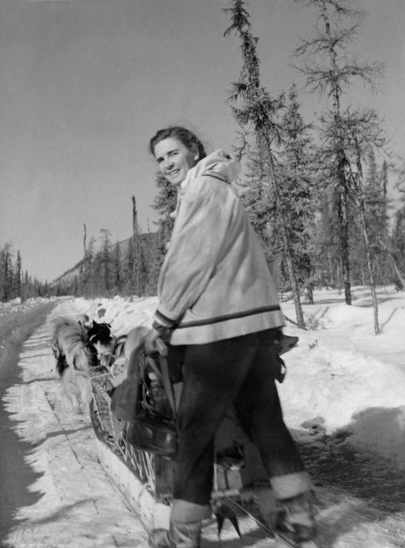 Celia Hunter on dog sled