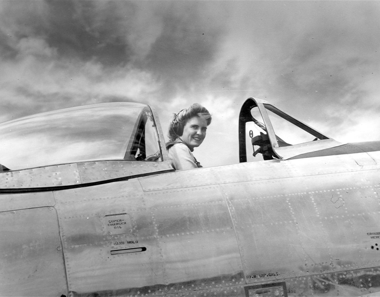 Celia in a P-47 Thunderbolt