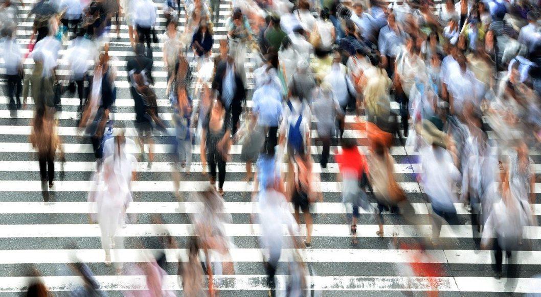 Busy Street - Many Pedestrians