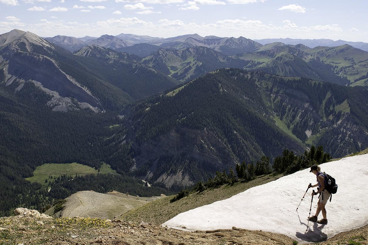 Hiker on McDougal Peak, Wyoming Range , Bridger Teton NF, Wyoming (c) George Wuerthner