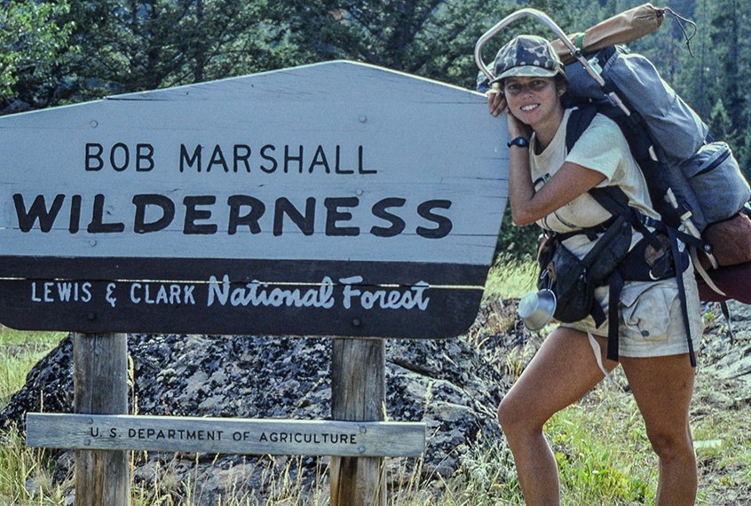 Nancy Morton beginning a 10 day:100 mile backpack in the Bob Marshall Wilderness Area, Montana.