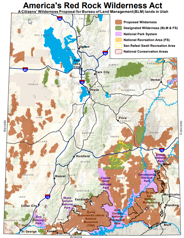 red rock wilderness act map