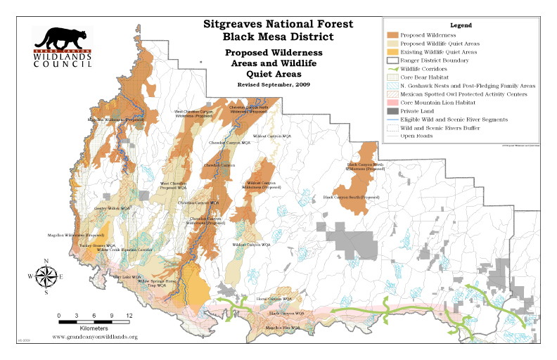 Sitgreaves National Forest Black Mesa District Proposed Wilderness and Quiet Areas