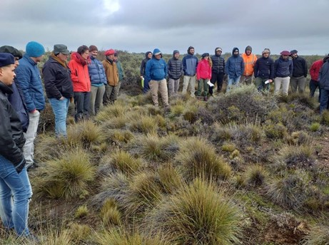 Ranchers examining grasslands for regenerative management.