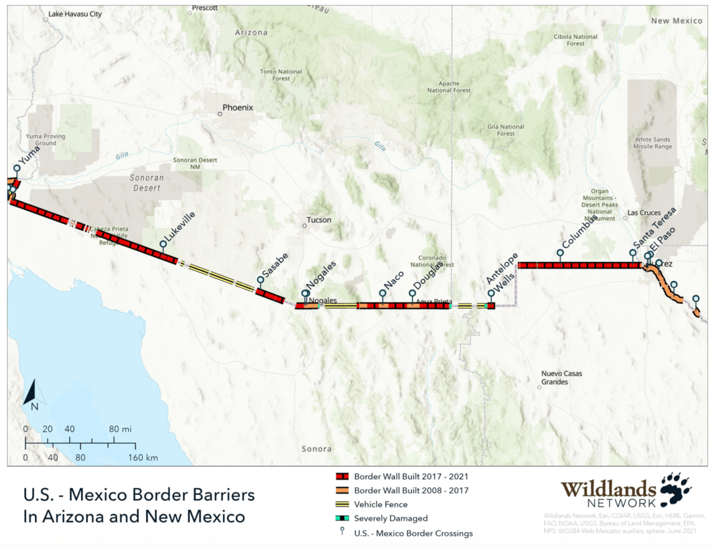 Border Wall in Arizona and New Mexico Map (Wildlands Network)