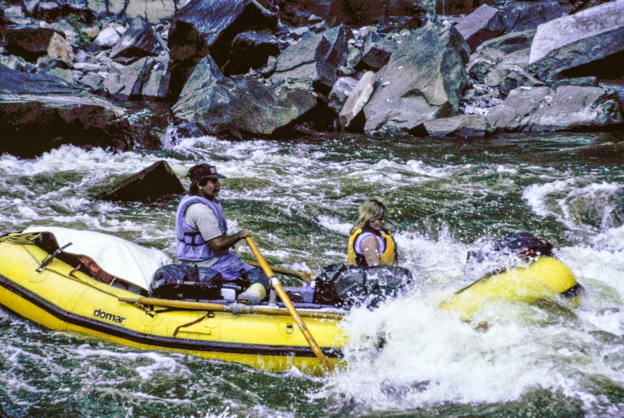 Kim and Becky in Warm Springs Rapid on the Yampa (c) Dave Foreman